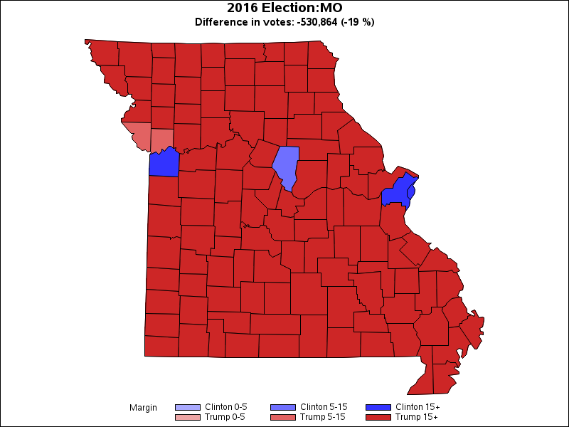 2012 and 2016 Presidential Election Results by State and County
